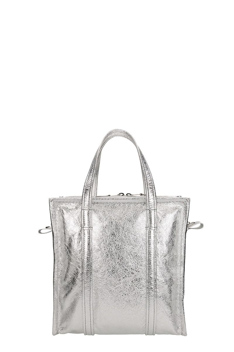 BALENCIAGA BAZAR SHOPPER S LEATHER SILVER