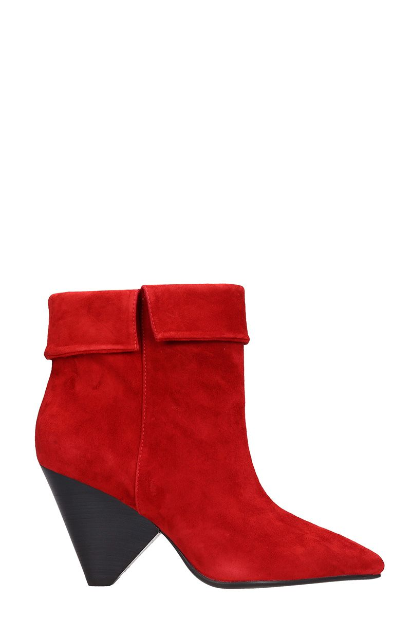 LOLA CRUZ Red Suede Ankle Boot