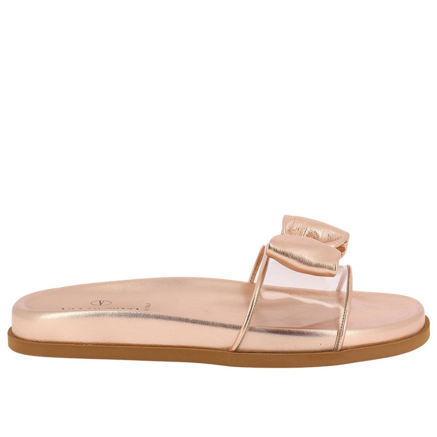 valentino garavani -  Flat Sandals Valentino Slide Sandals Glassglow In Transparent Pvc And Laminated Leather With Maxi Bow