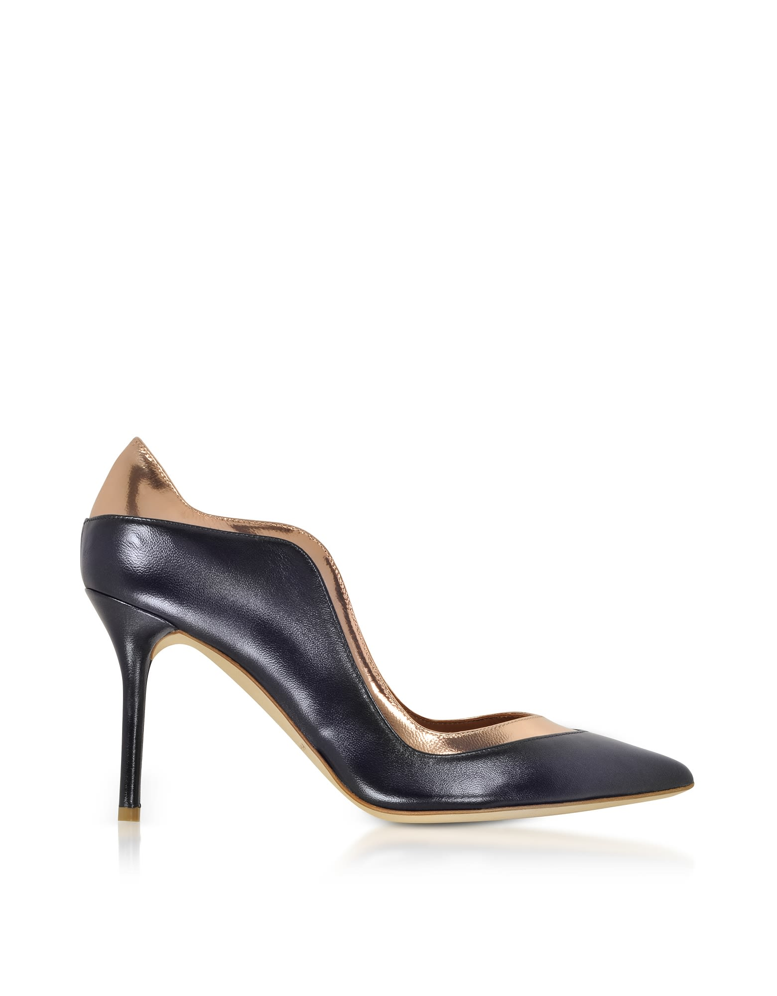 By Roy Luwolt Penelope Midnight Blue And Metallic Rose Nappa Leather Pumps in Dark Blue