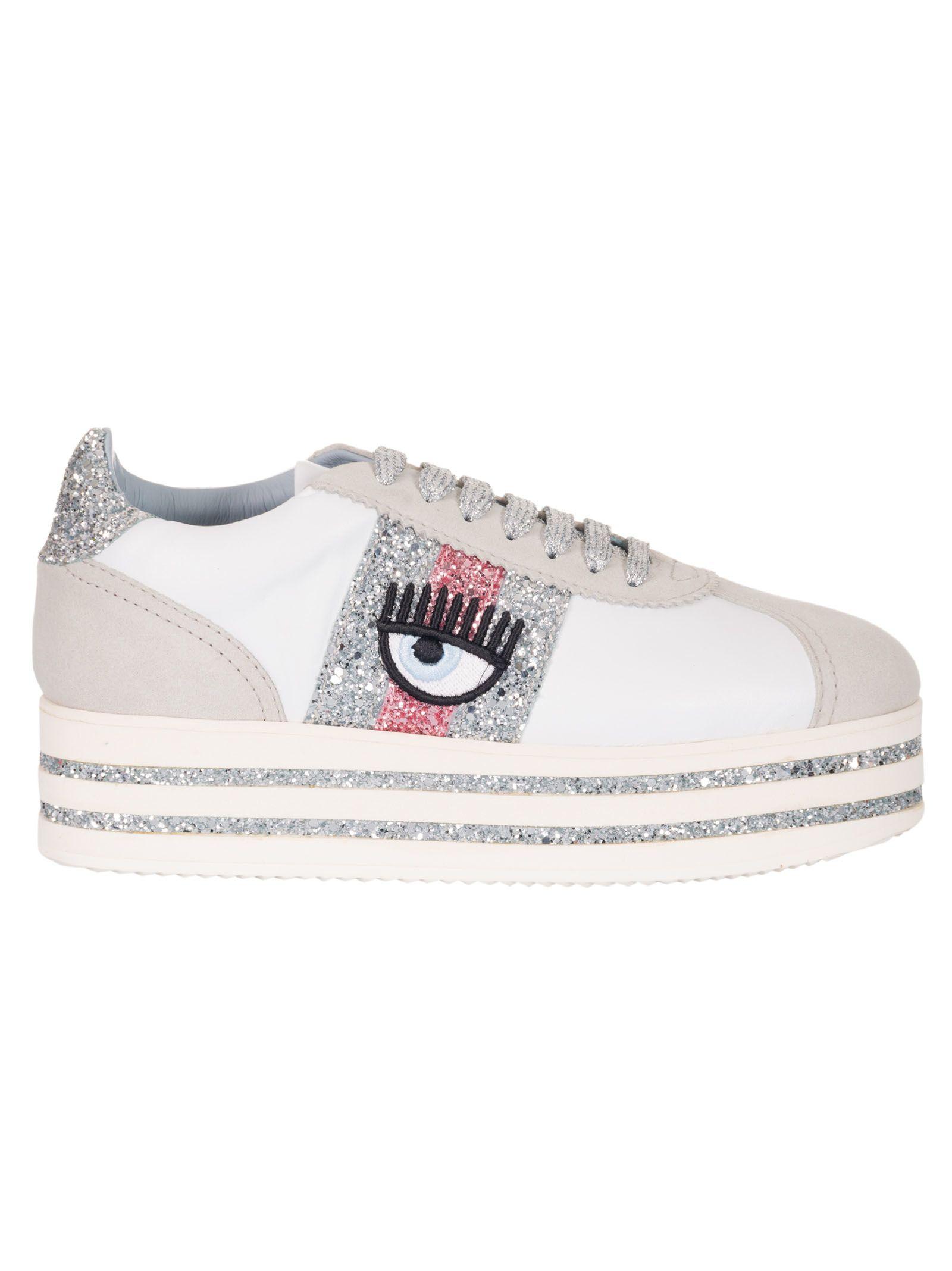 f9c8f7e59c9 Chiara Ferragni Flirting Platform Sneakers In White Fuxia