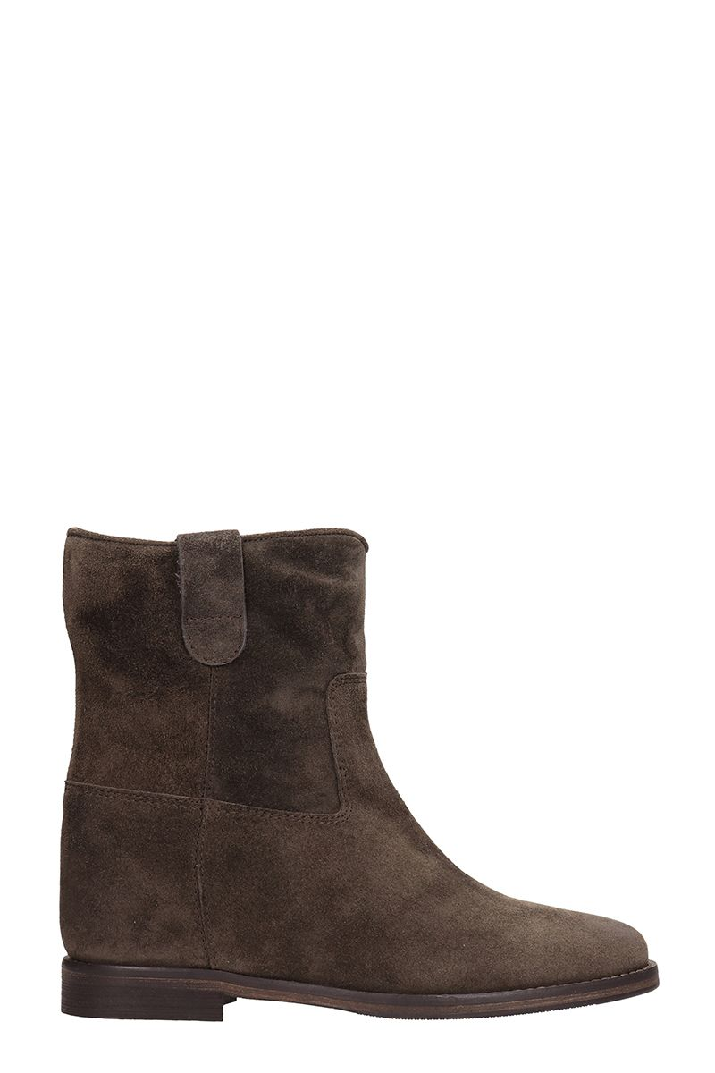 JULIE DEE Brown Suede Ankle Boots
