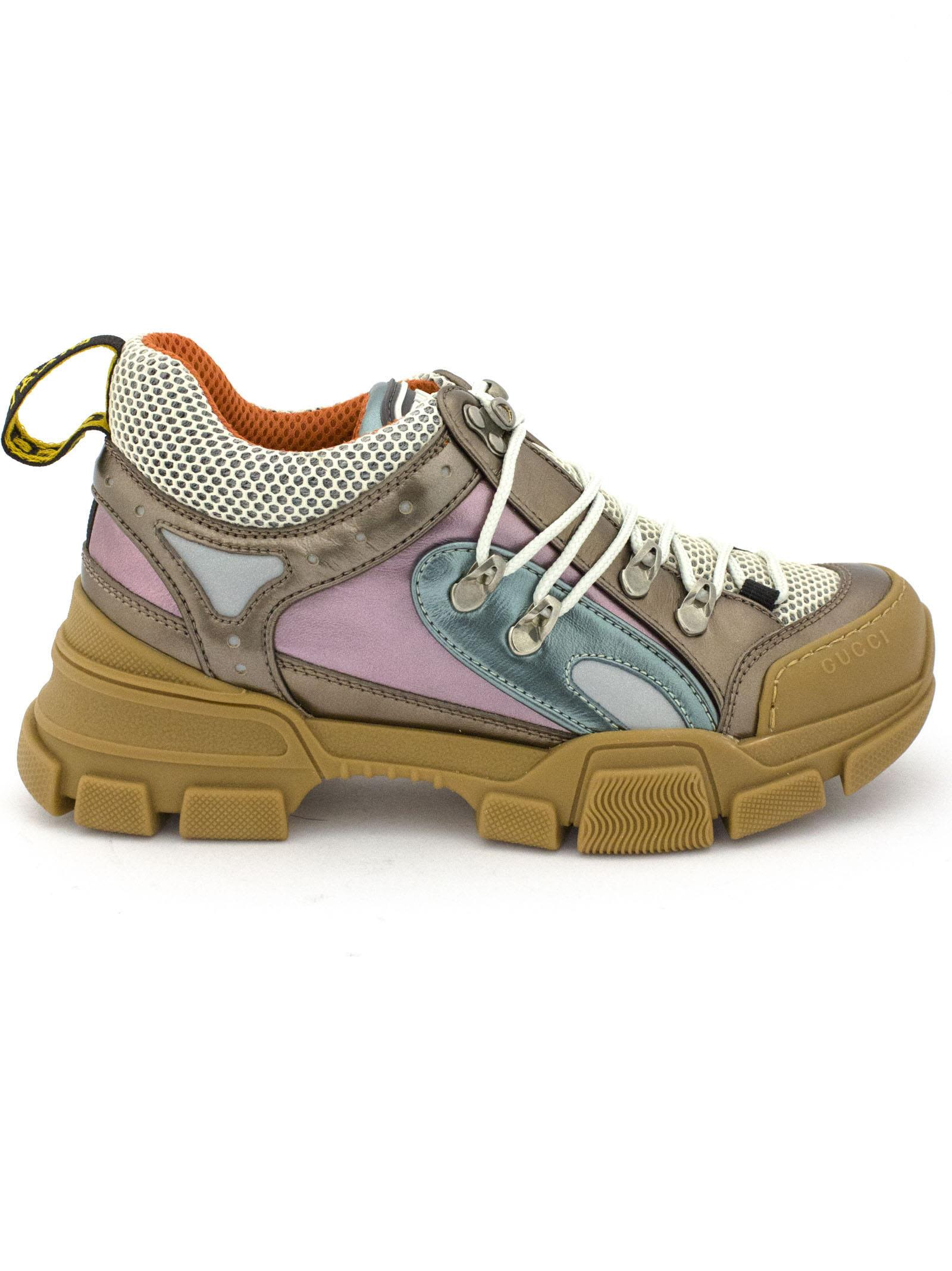 gucci -  Flashtrek Sneaker In Gold, Blue And Pink Metallic Leather.