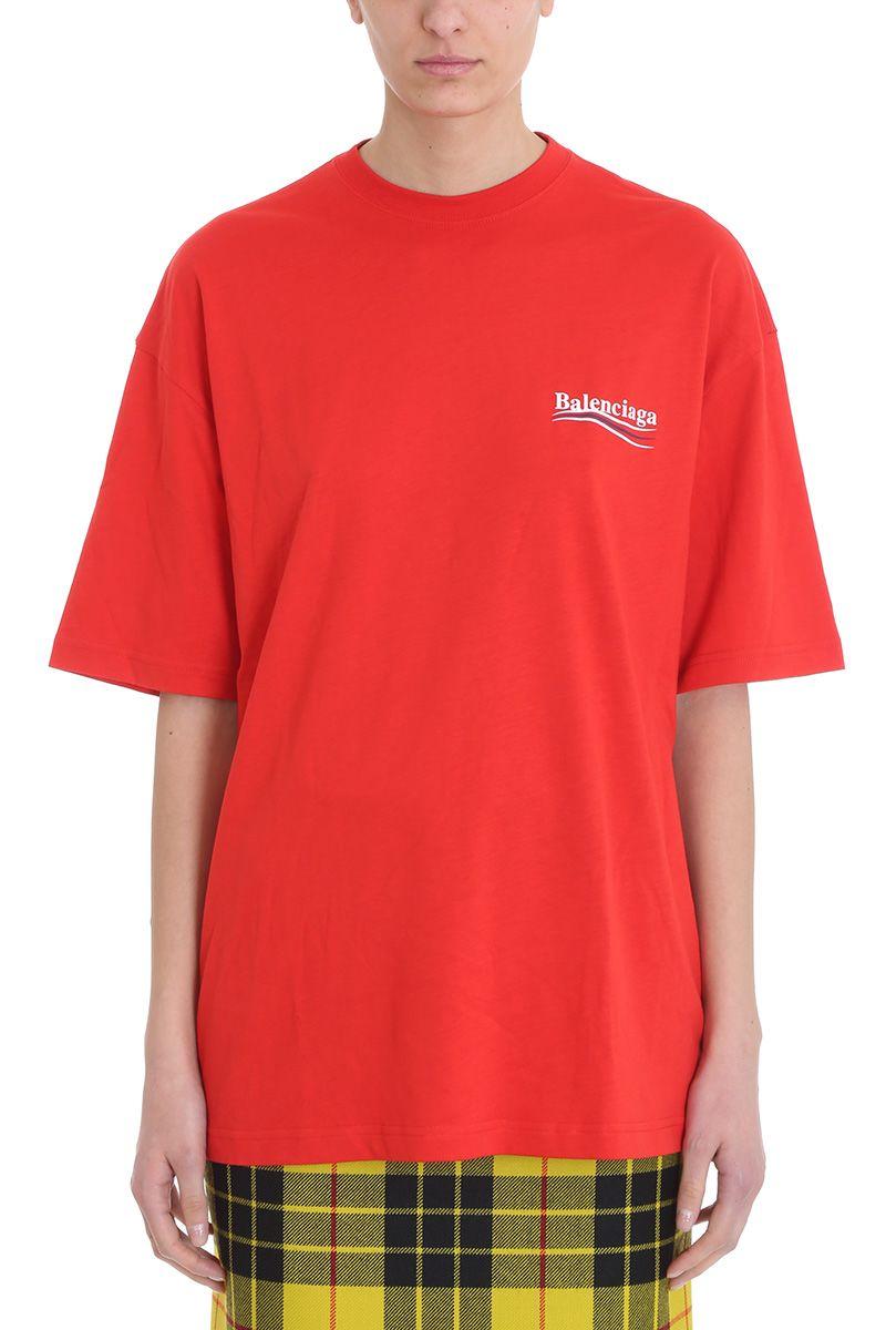 66ca1033 Balenciaga Red Logo Cotton T-Shirt   ModeSens