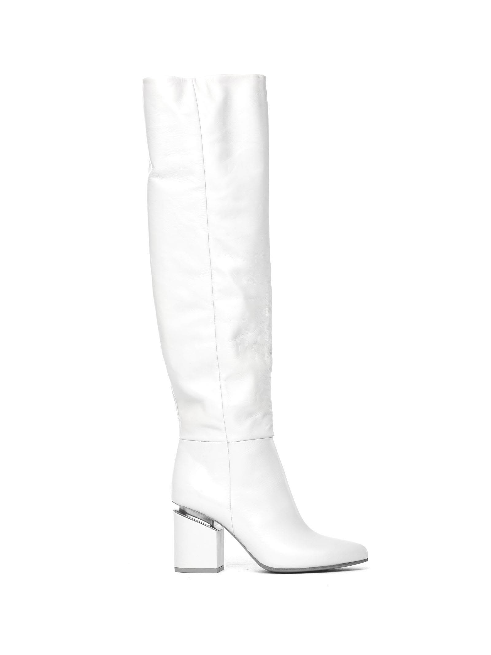 VIC MATIE White Leather Stove Pipe Boots With Suspended Heel in Bianco