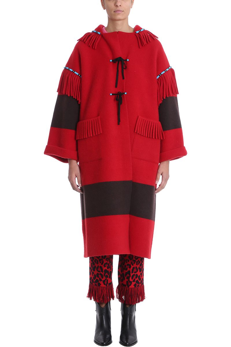Alanui Wools EMBROIDERED RED KNIT WOOL COAT