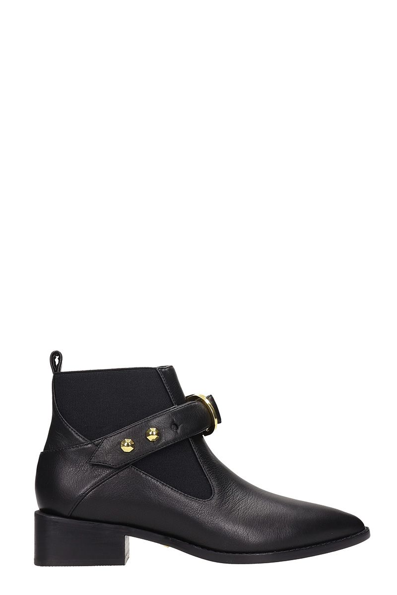 Black Leather Edie Ankle Boots