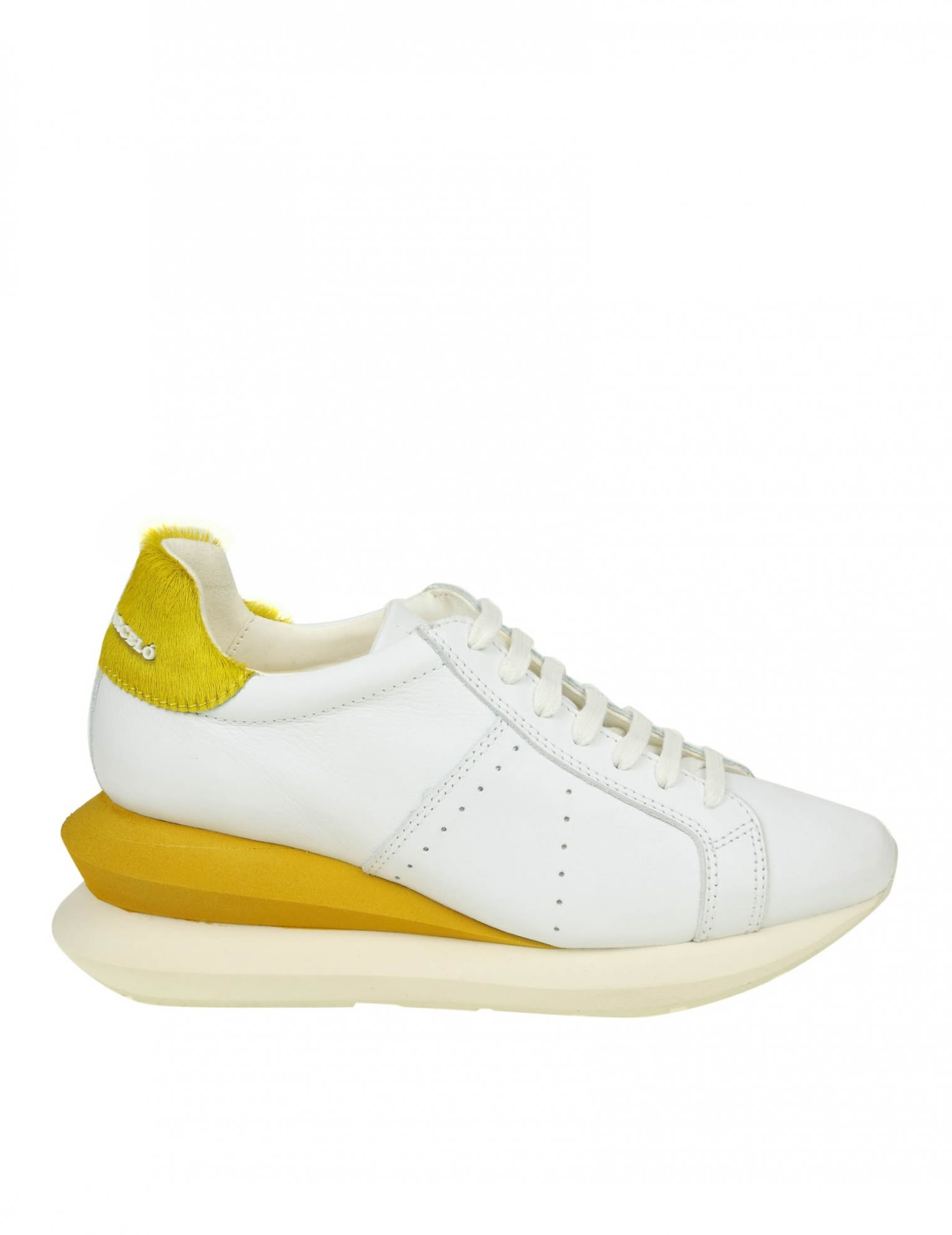 Manuel Barcelo' Sneakers Shoe In White Leather, White/Yellow