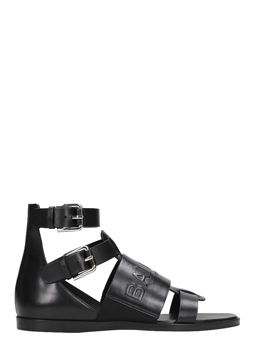 Balmain Designer Shoes, Leather Clothilde Flat Sandals