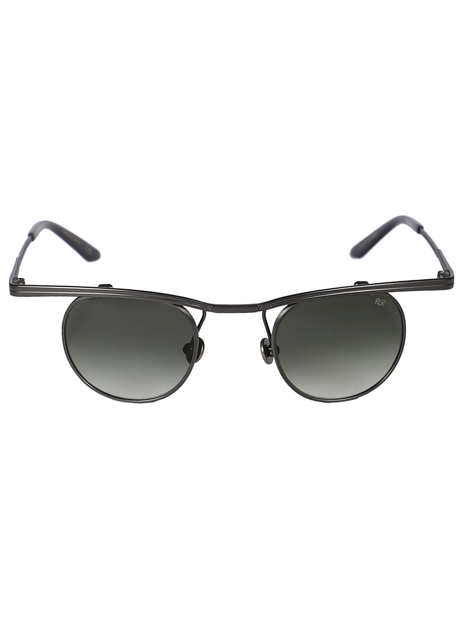 ROBERT LA ROCHE Robert Laroche Winged Round Frame Sunglasses in Gunmetal