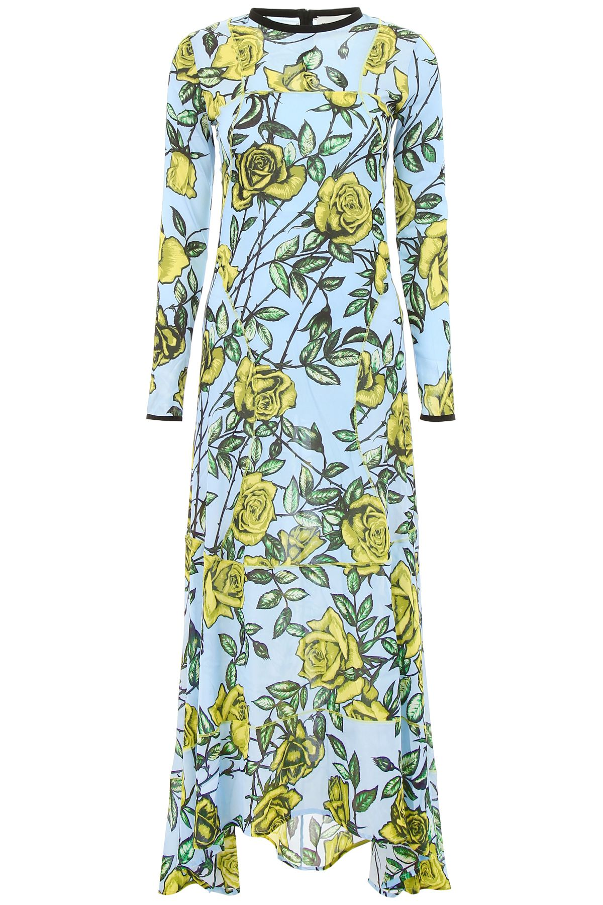 SCRAMBLED EGO Long Dress With Roses in Light Blue Lemon