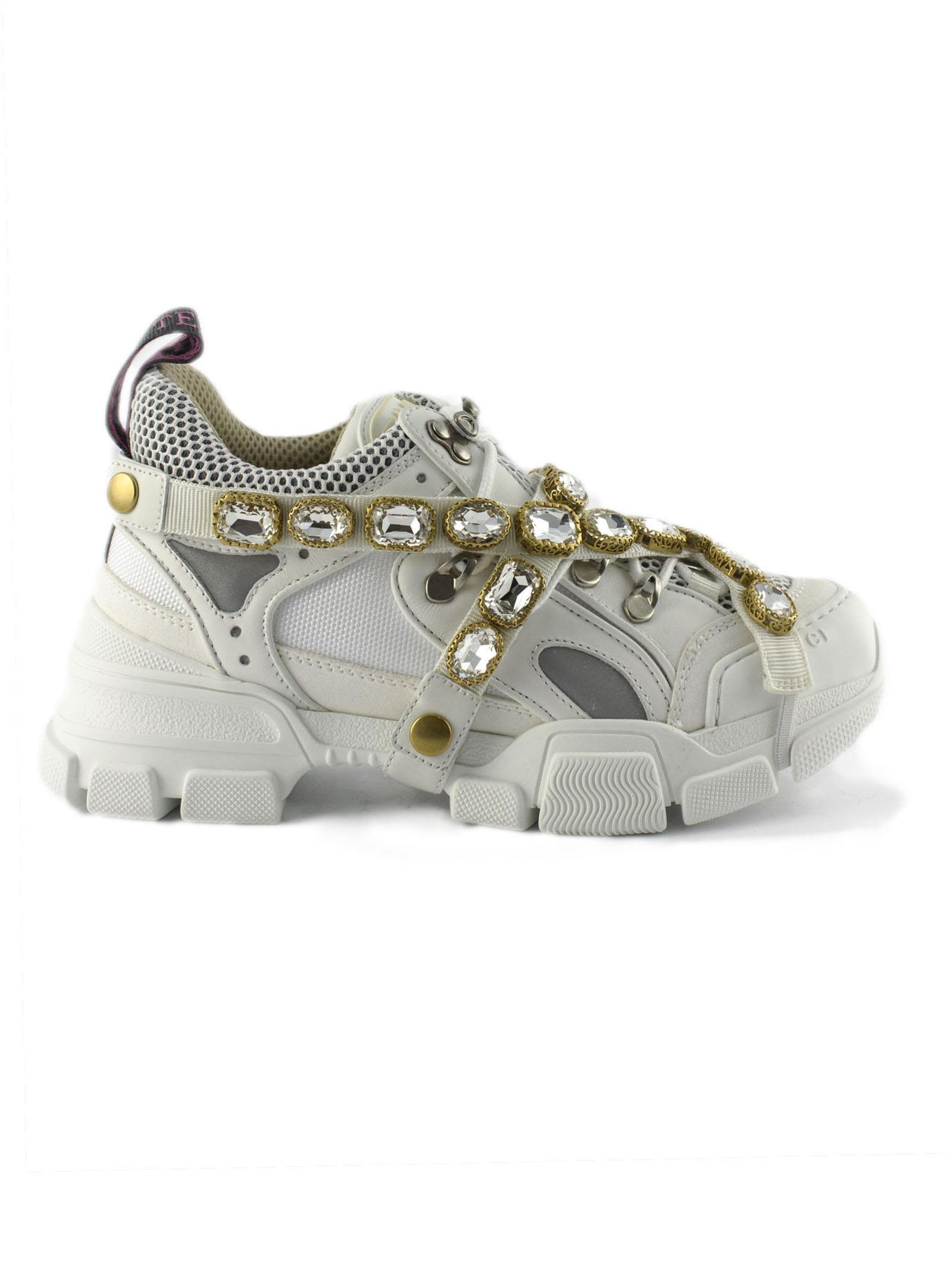 gucci -  Flashtrek White Sneaker With Removable Crystals.