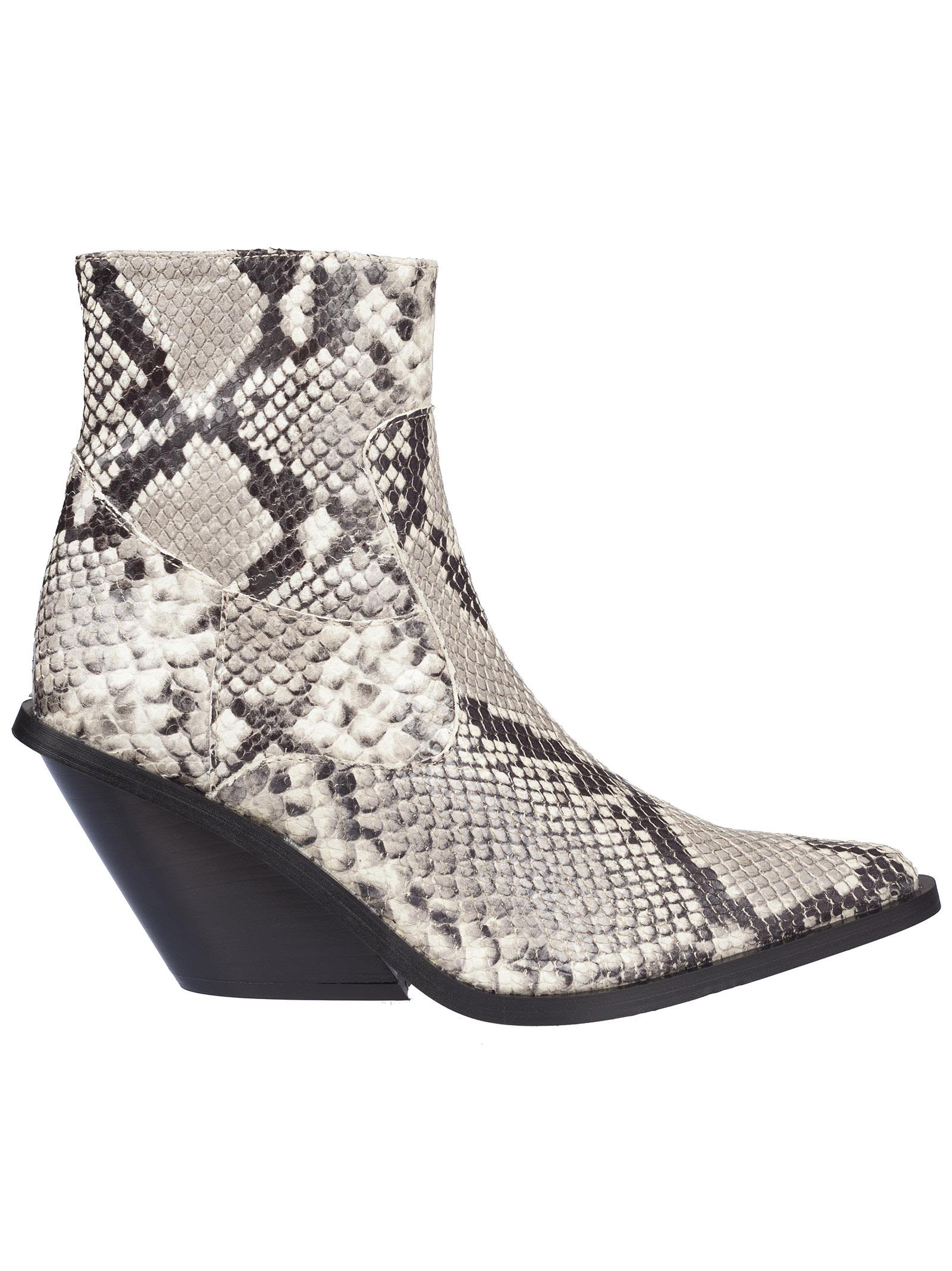 Python Print Ankle Boots in Black