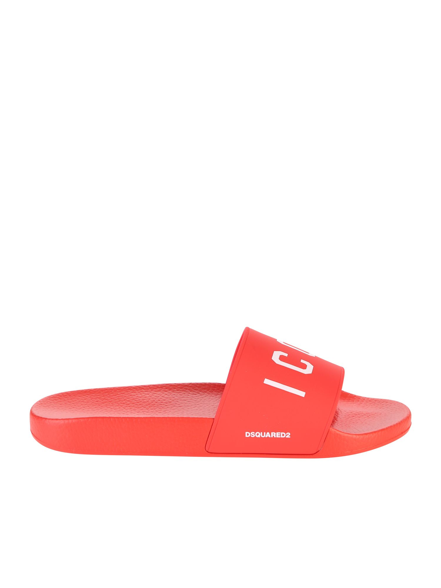 Red Icon Slide Sandals