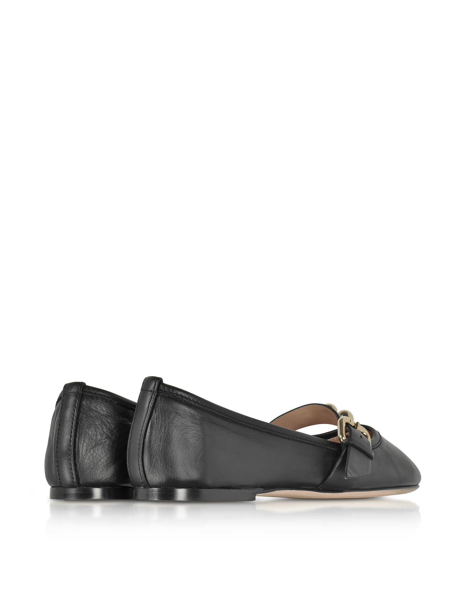 RED Valentino Leather Flat Ballerinas W-buckle And Studs Free Shipping Clearance Buy Cheap Latest Collections Purchase 6dhSgk