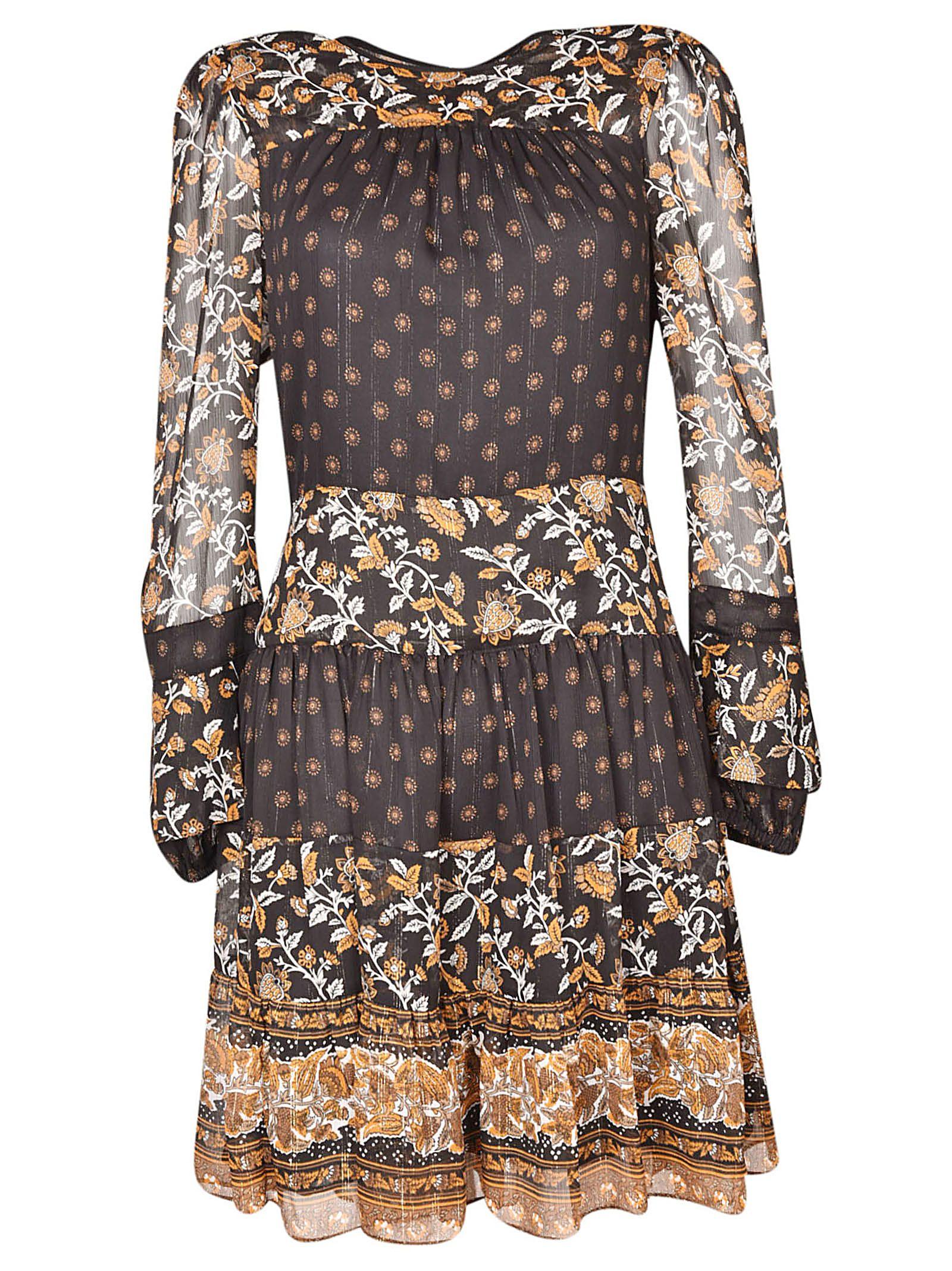 Border Woven Dress, 795.Black/Marigold