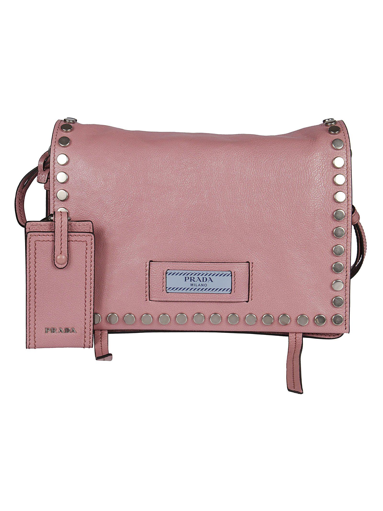 cfa36abc0d27 Prada Etiquette Studded Shoulder Bag In Pink & Purple | ModeSens