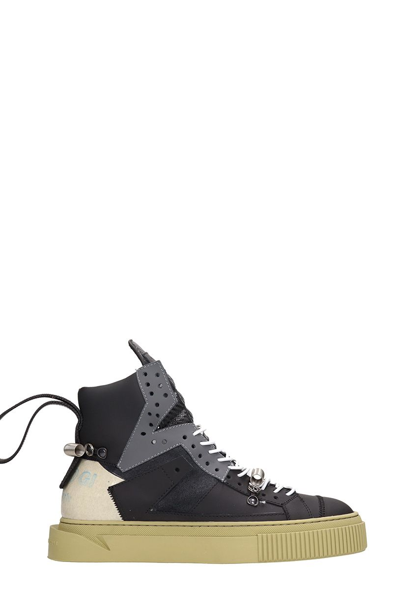 GIENCHI Black Leather And Suede Hypnos 100 Sneakers