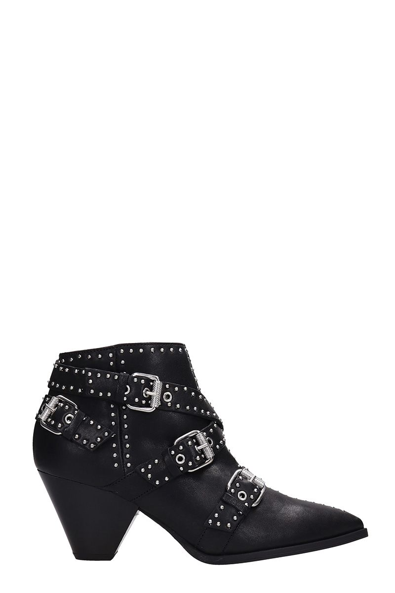 JANET&JANET Studded Black Leather Ankle Boots