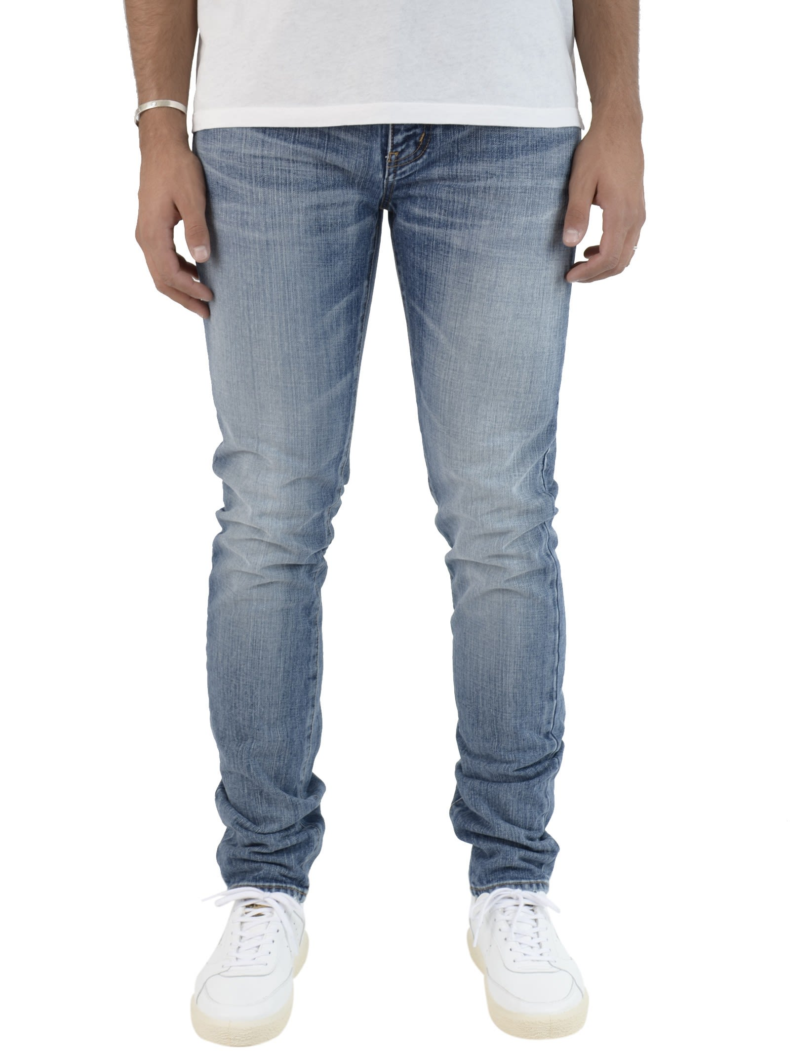 Saint Laurent Medium Blue Logo Patch Jeans 9190115