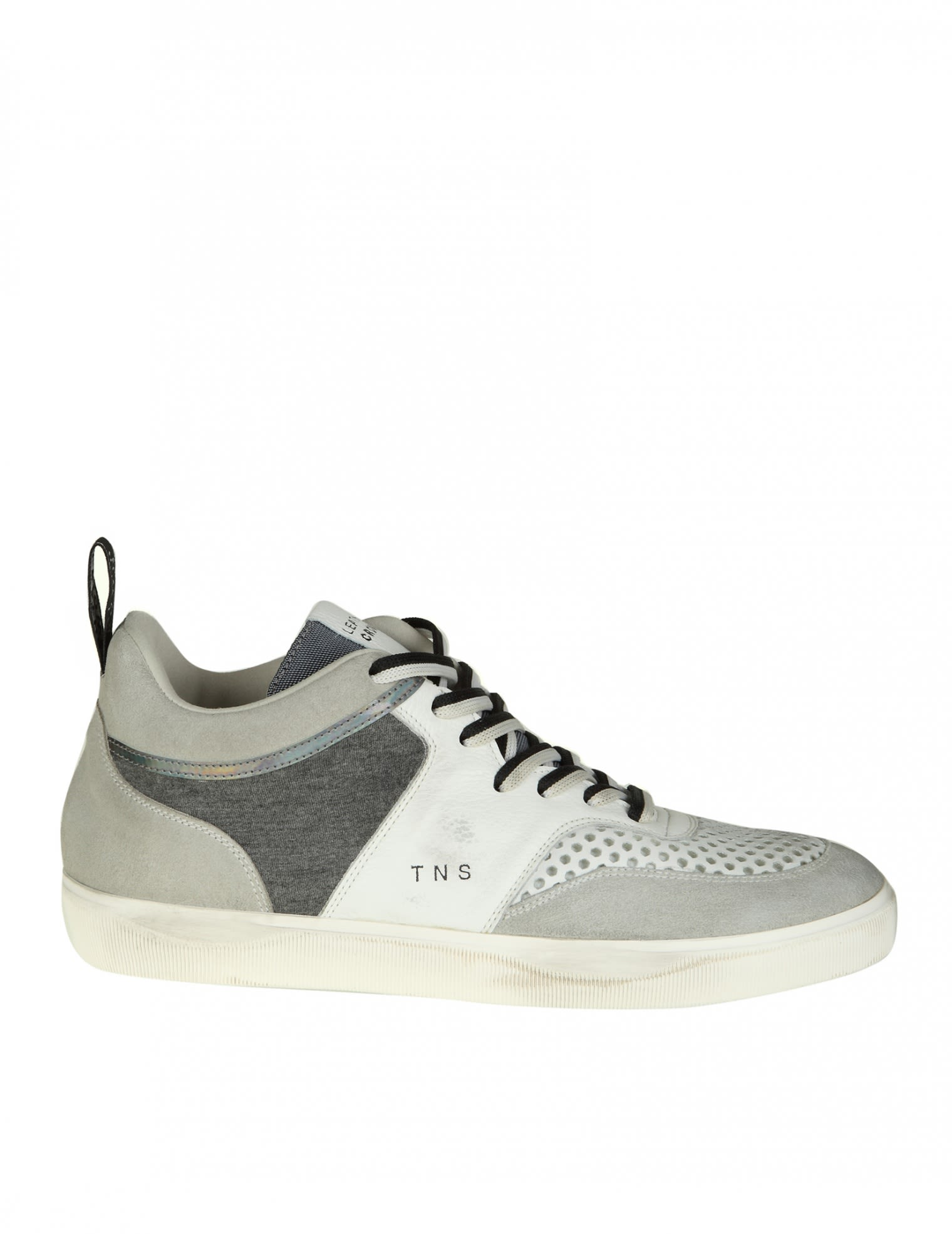Leather Crown Leathers SNEAKERS IN LEATHER COLOR WHITE AND GRAY