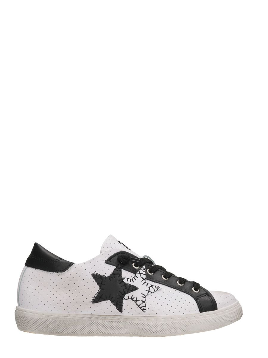2star female 2star low white black perforated leather sneakers