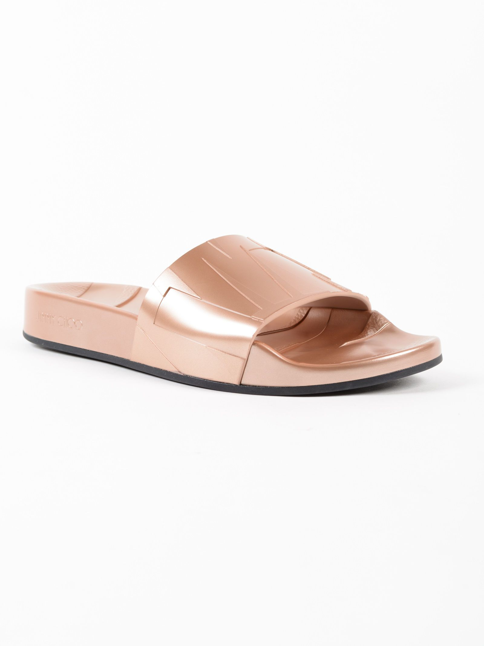 Jimmy choo Metallic Rubber Pool Sliders Clearance Wholesale Price Cheap Sale Cheapest Price Low Price Fee Shipping Cheap Price 4toPeJ