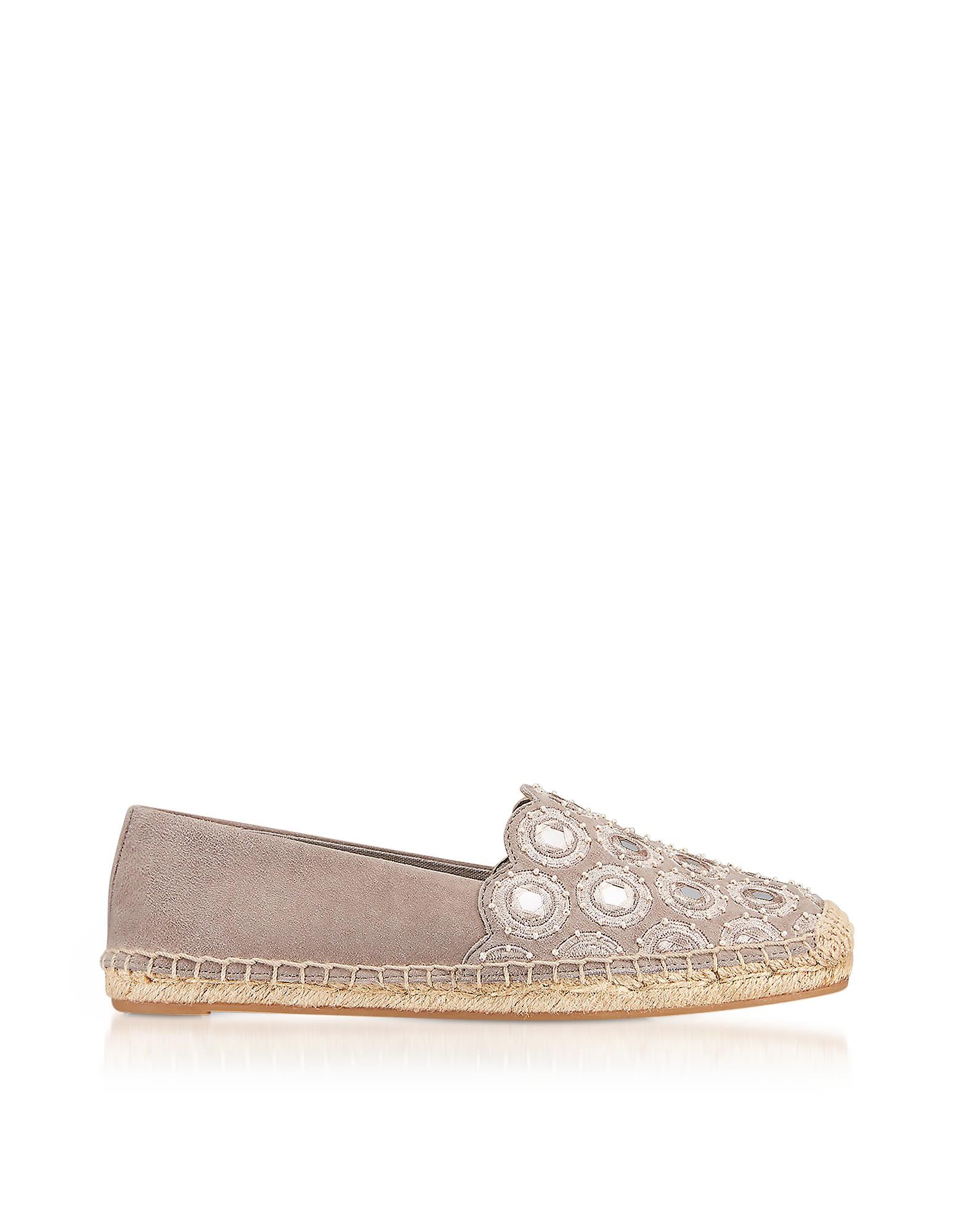 Tory Burch Designer Shoes, Yasmin Dust Storm Suede Embellished Flat Espadrilles