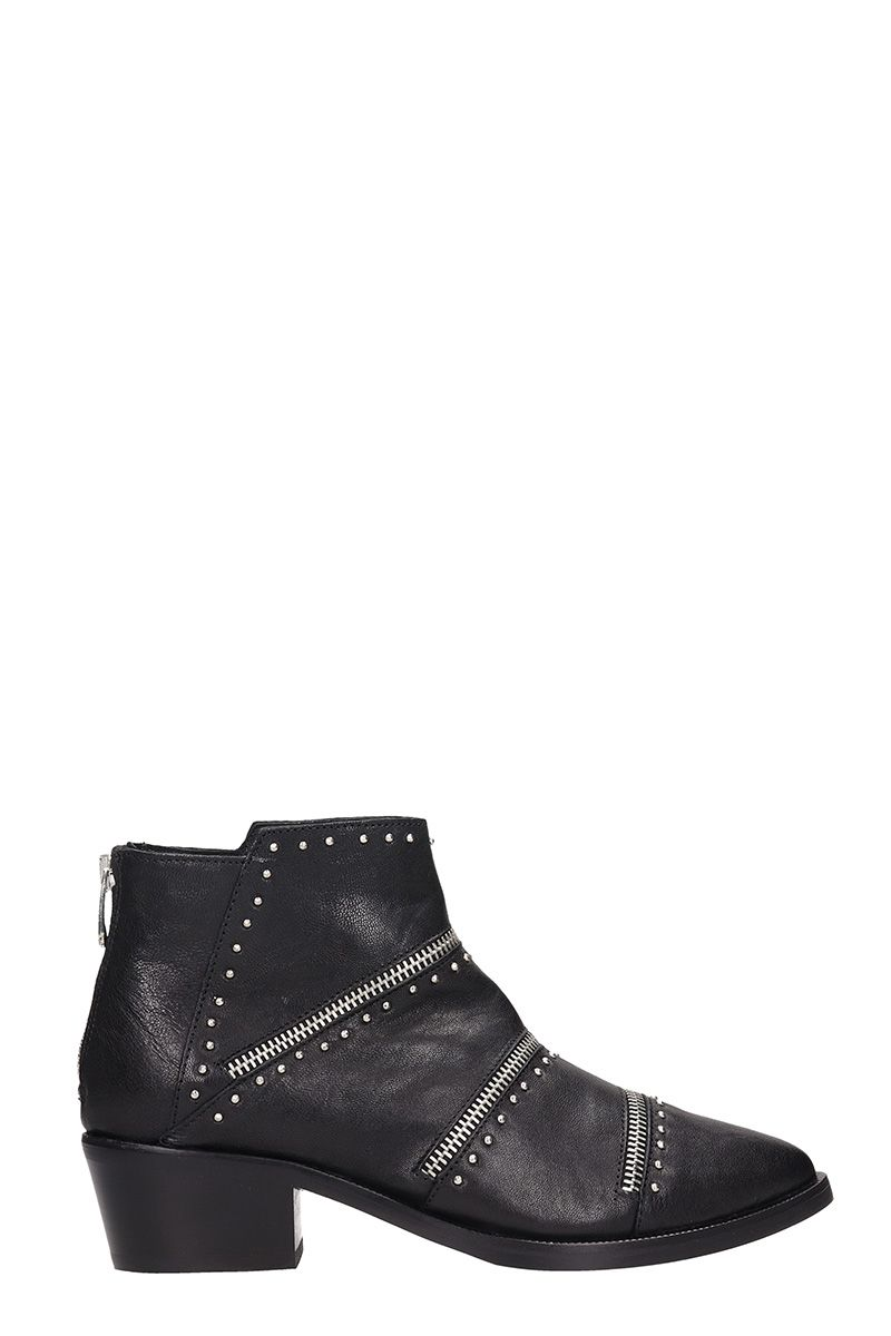 JANET&JANET Zipped Black Leather Ankle Boots