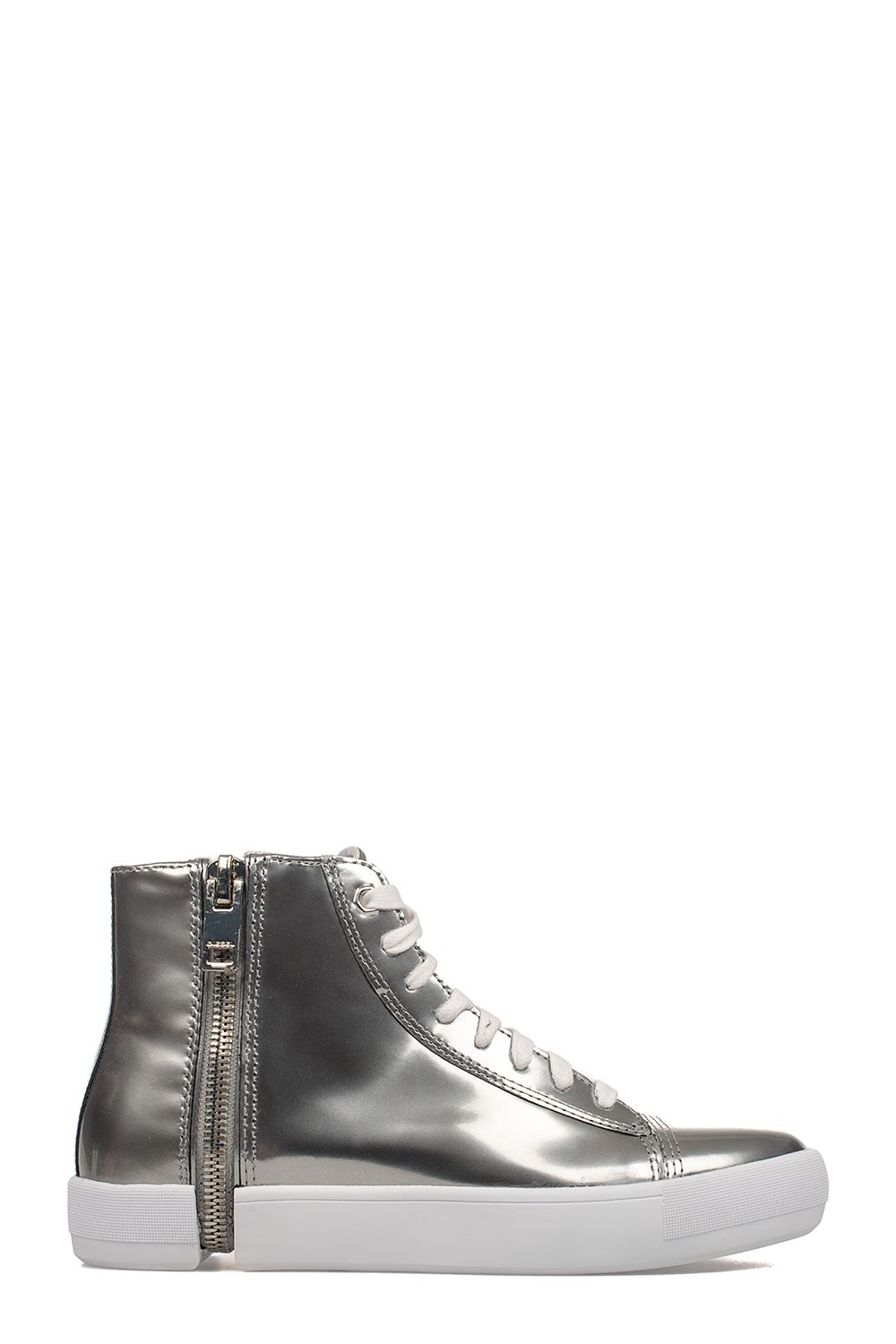 Silver Nentish Brushed Leather High-top Sneakers