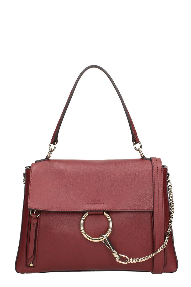 CHLOÉ FAYE MEDIUM BURGUNDY LEATHER SHOULDER BAG