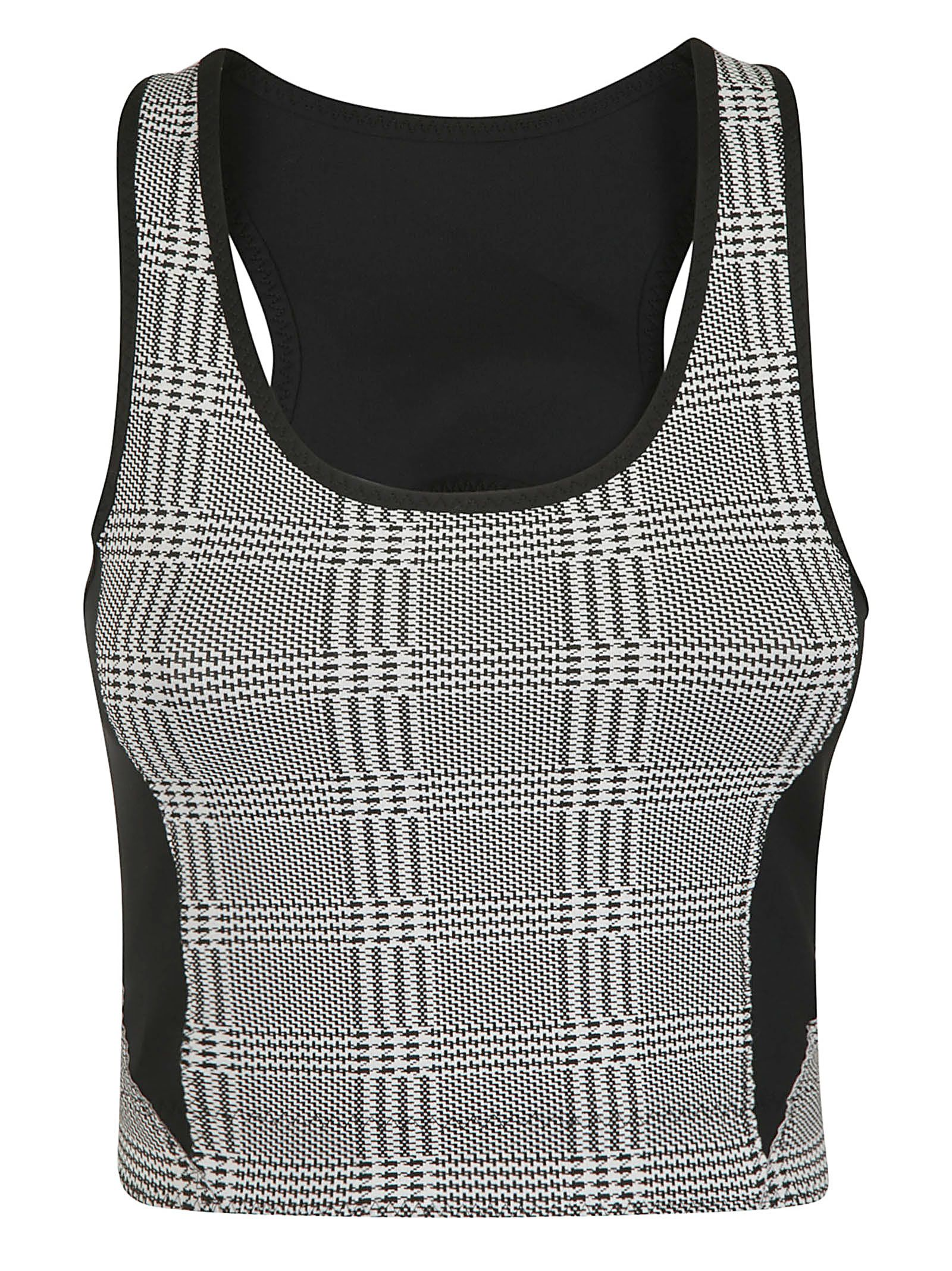 """SÀPOPA """"Terry"""" Houndstooth Crop Top - Gray Size Xs"""