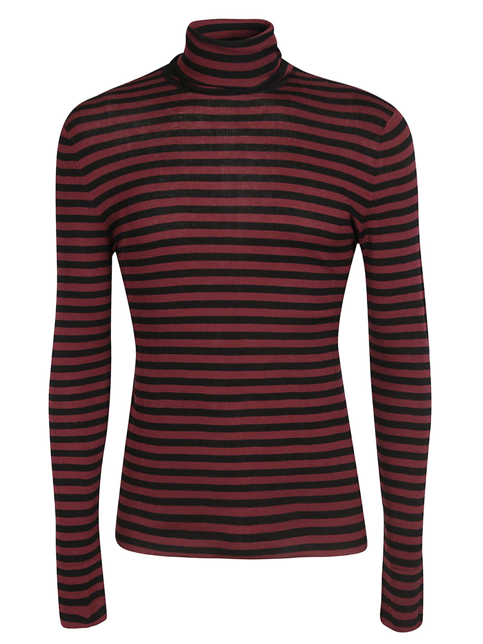 Saint Laurent Striped Sweater In Noir Bordeaux  8e7d4d752