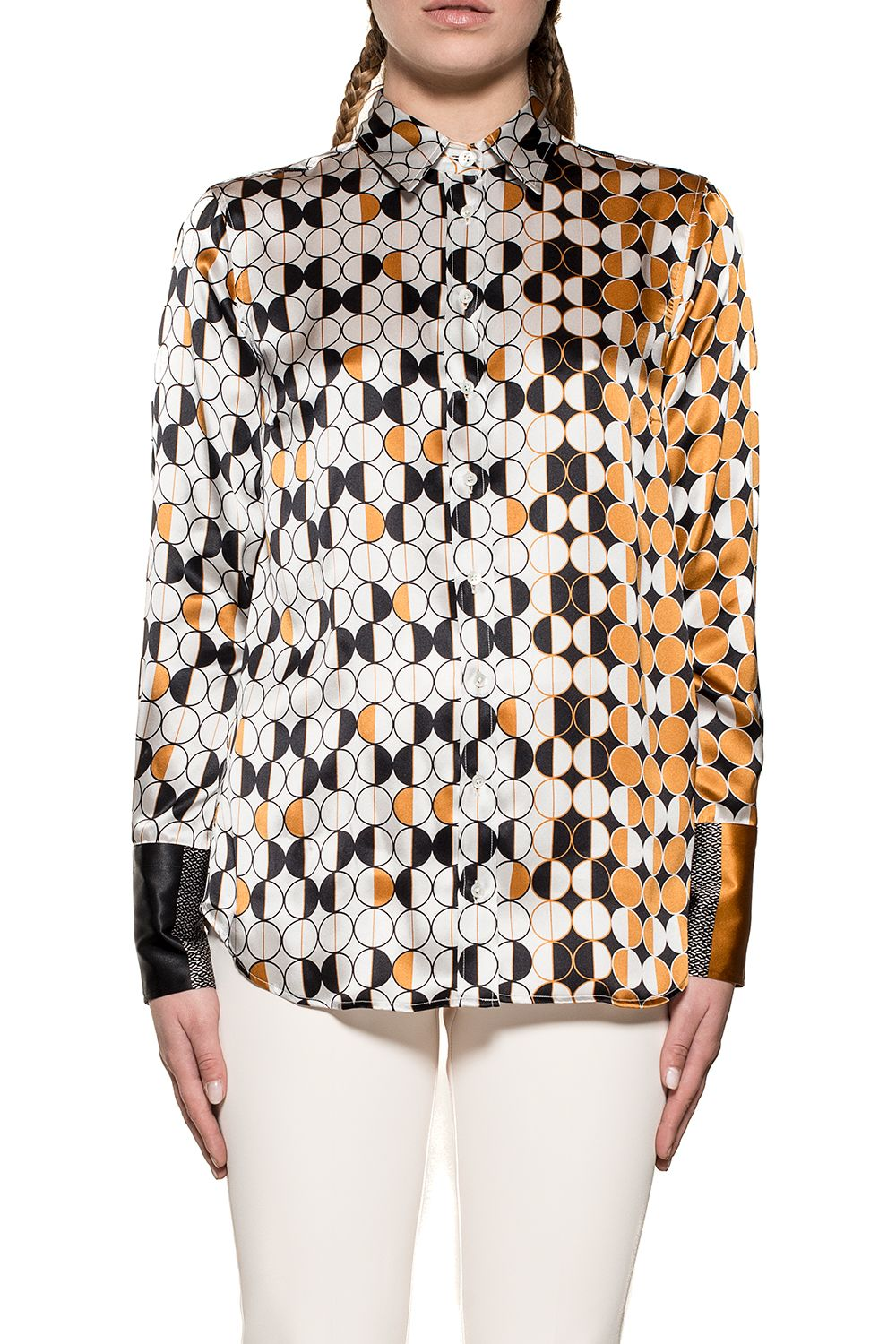 BAGUTTA White/Yellow Laras Silk Shirt