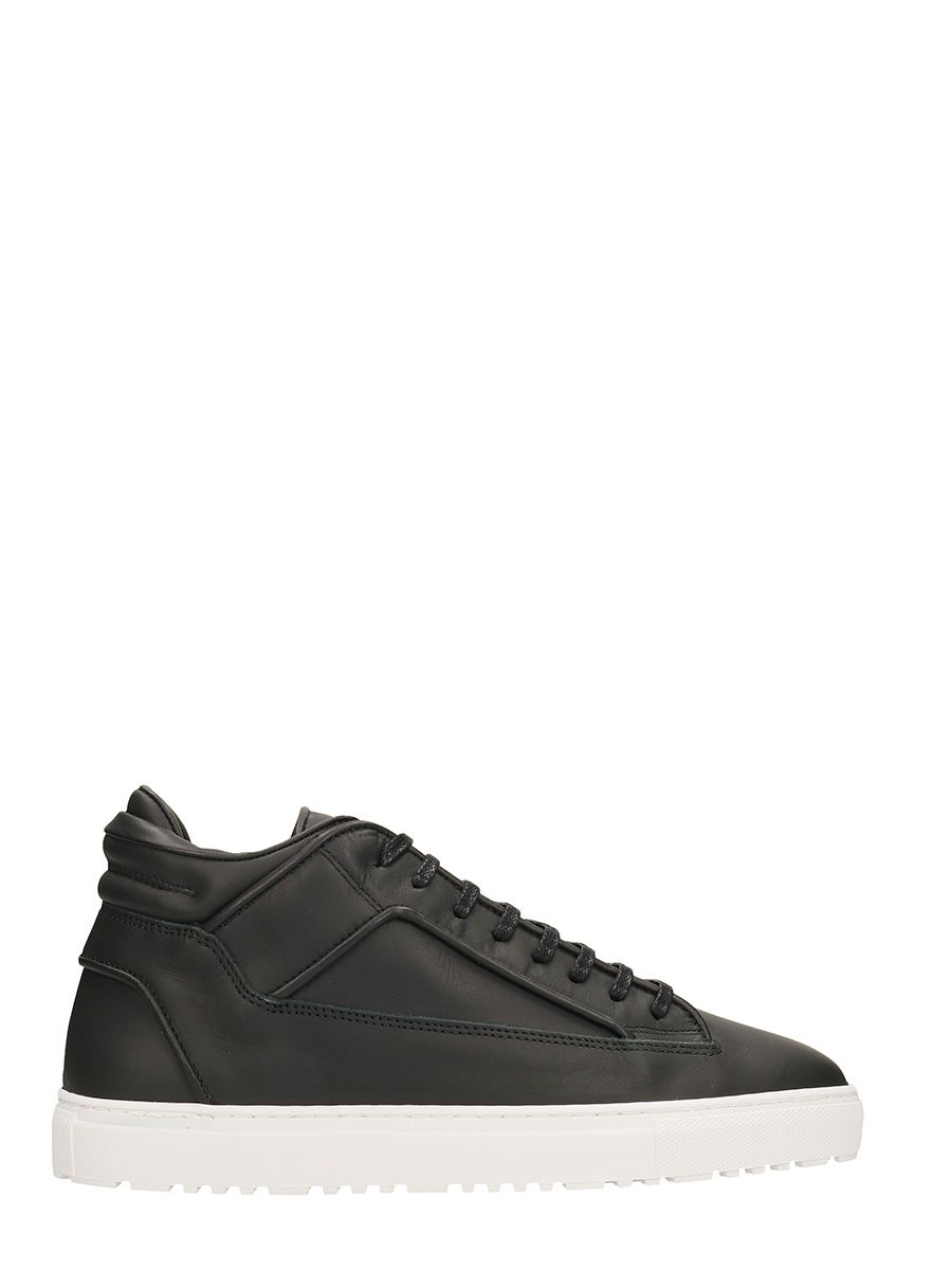 ETQ. MID 2 BLACK LEATHER SNEAKERS