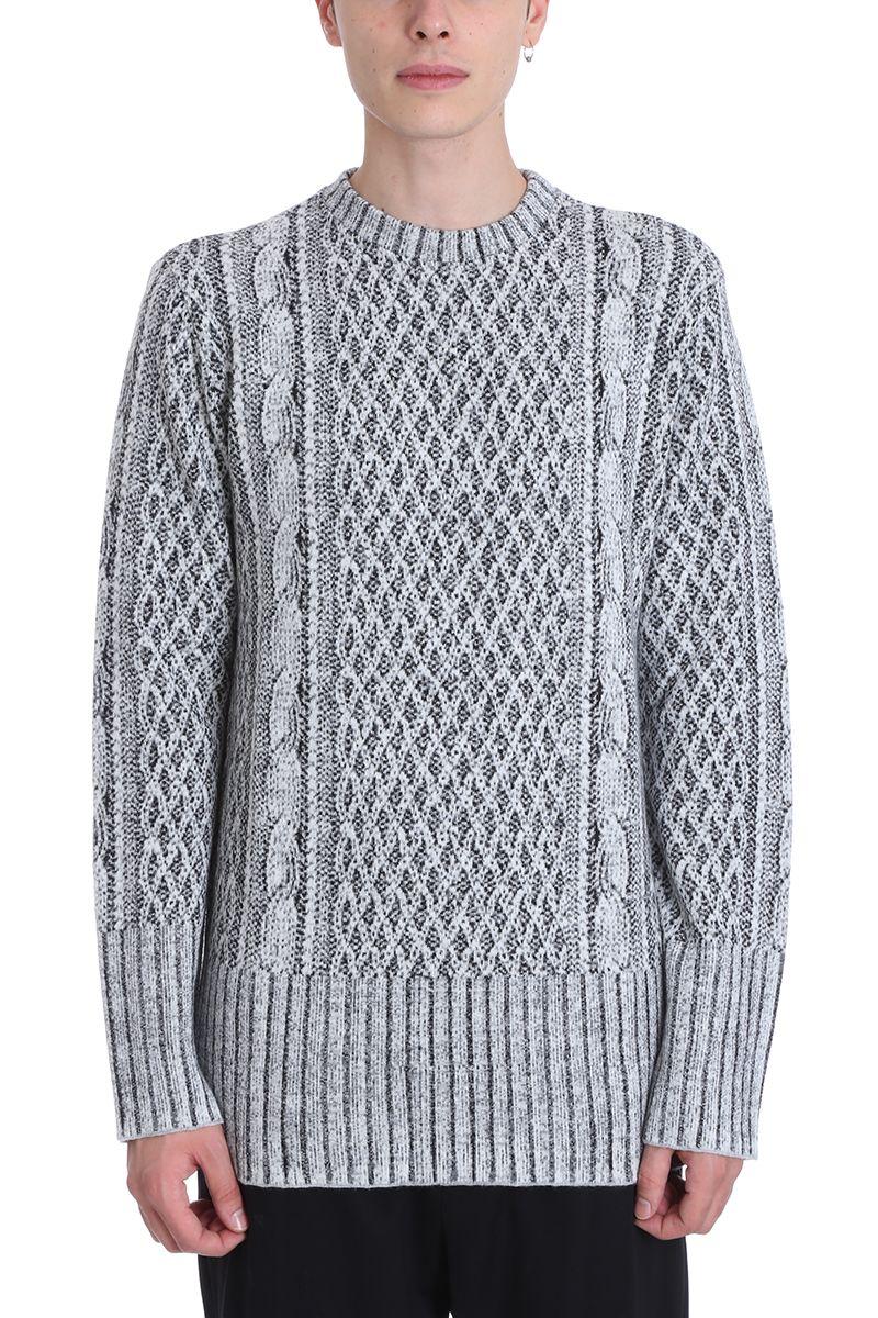 ih nom uh nit Grey Wool Jacquard Cable Sweater