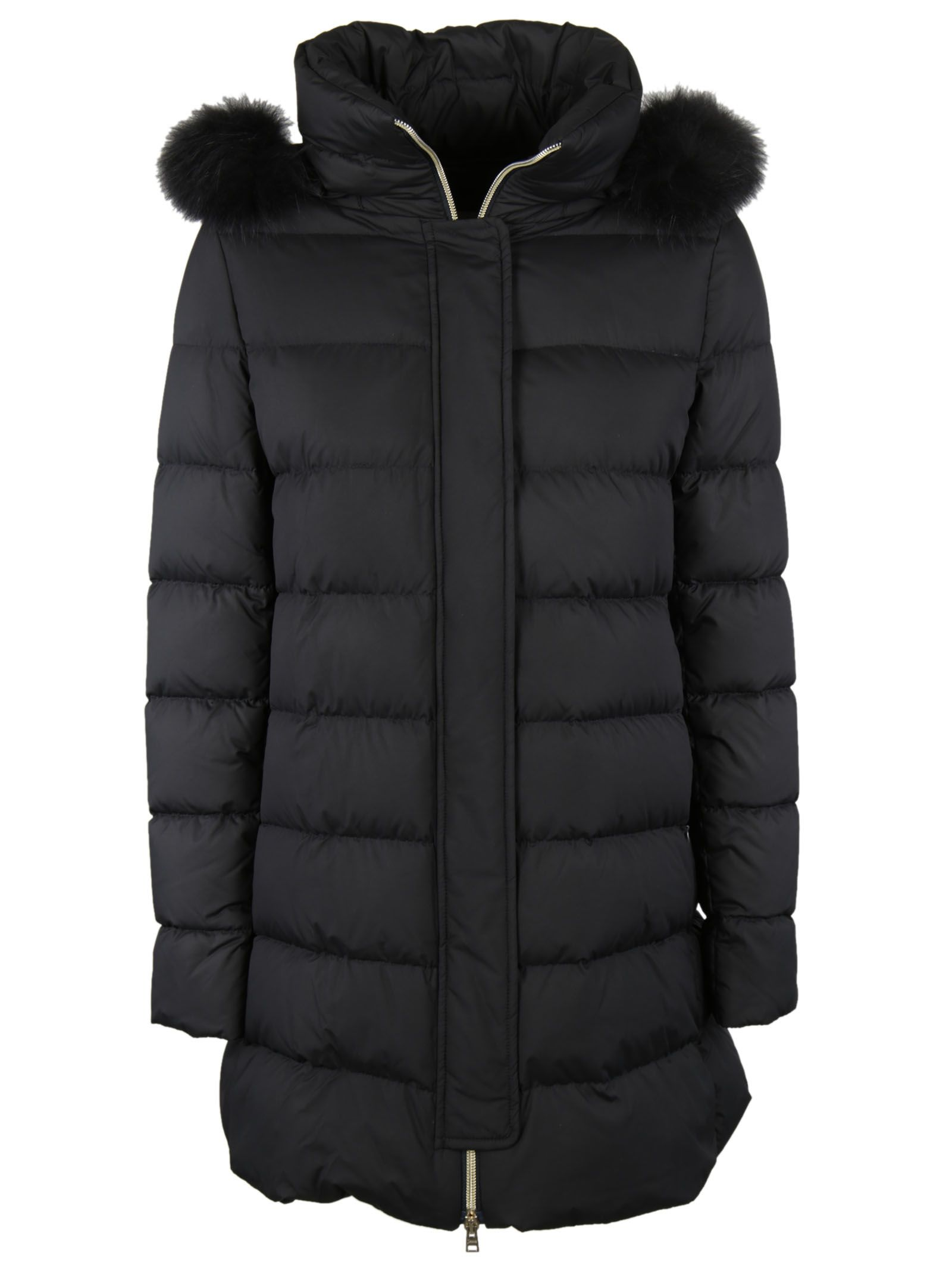 herno furred shoulder down jacket black 8130865 italist