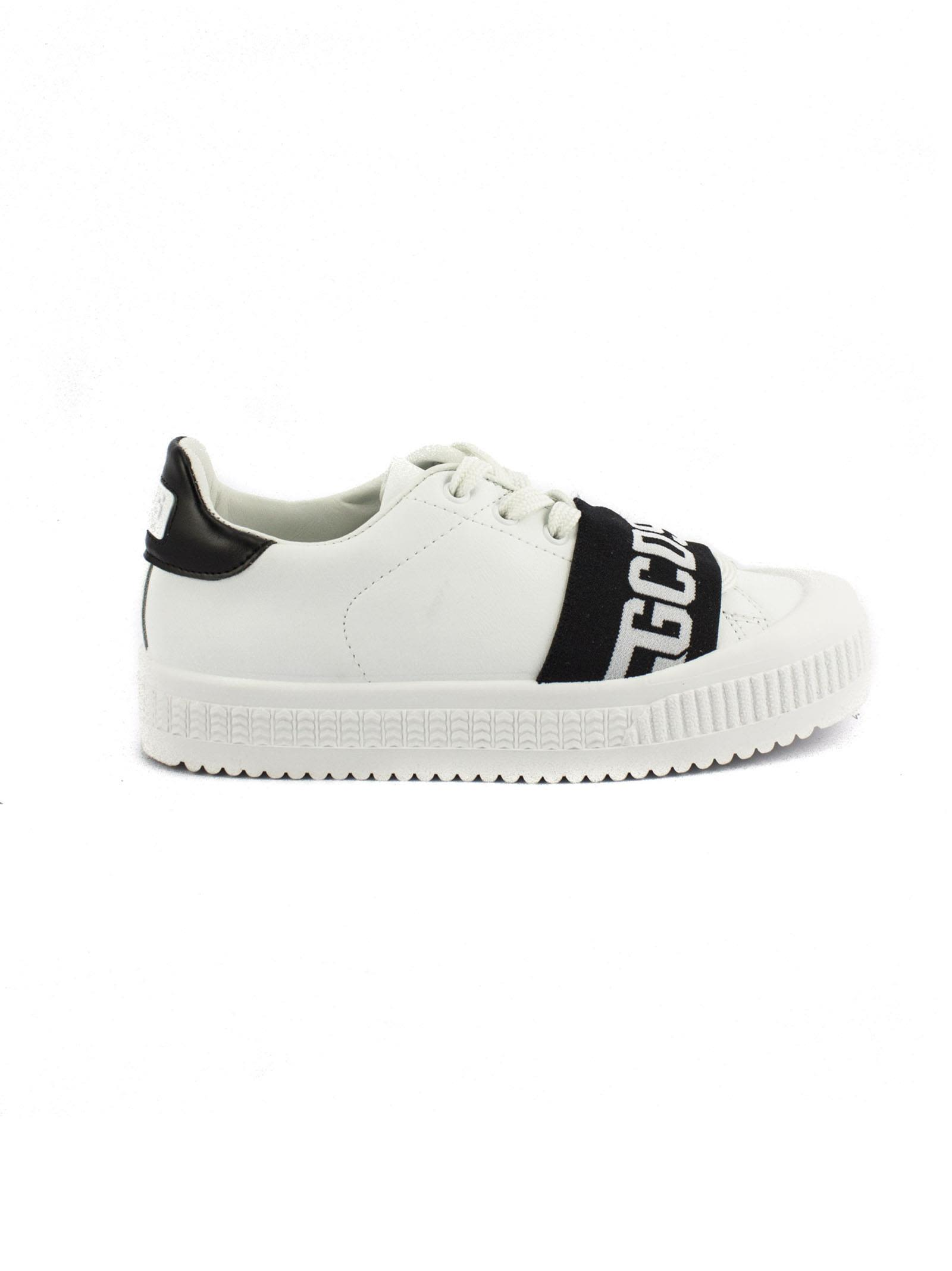 Many Styles GCDS White Leather Sneaker With Black Elastic Logo Band. Excellent Cheap Online Cheap Finishline MKUOxQ