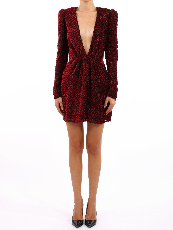 Saint Laurent Deep V Neck Devore Snowflake Velvet Mini Dress In