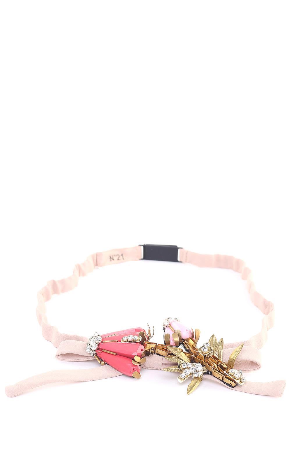N.21 Crystal-embellished Bow Crepe Belt