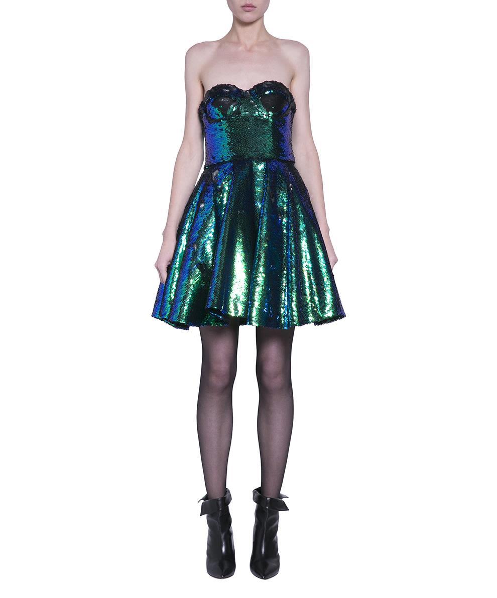 AMEN Sequinned Bustier Dress in Green