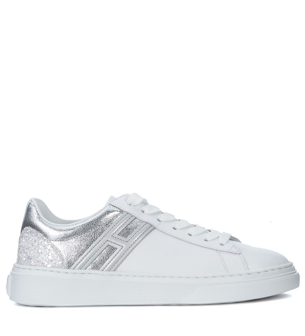 Hogan H365 White Leather And Silver Glitter Sneaker ...