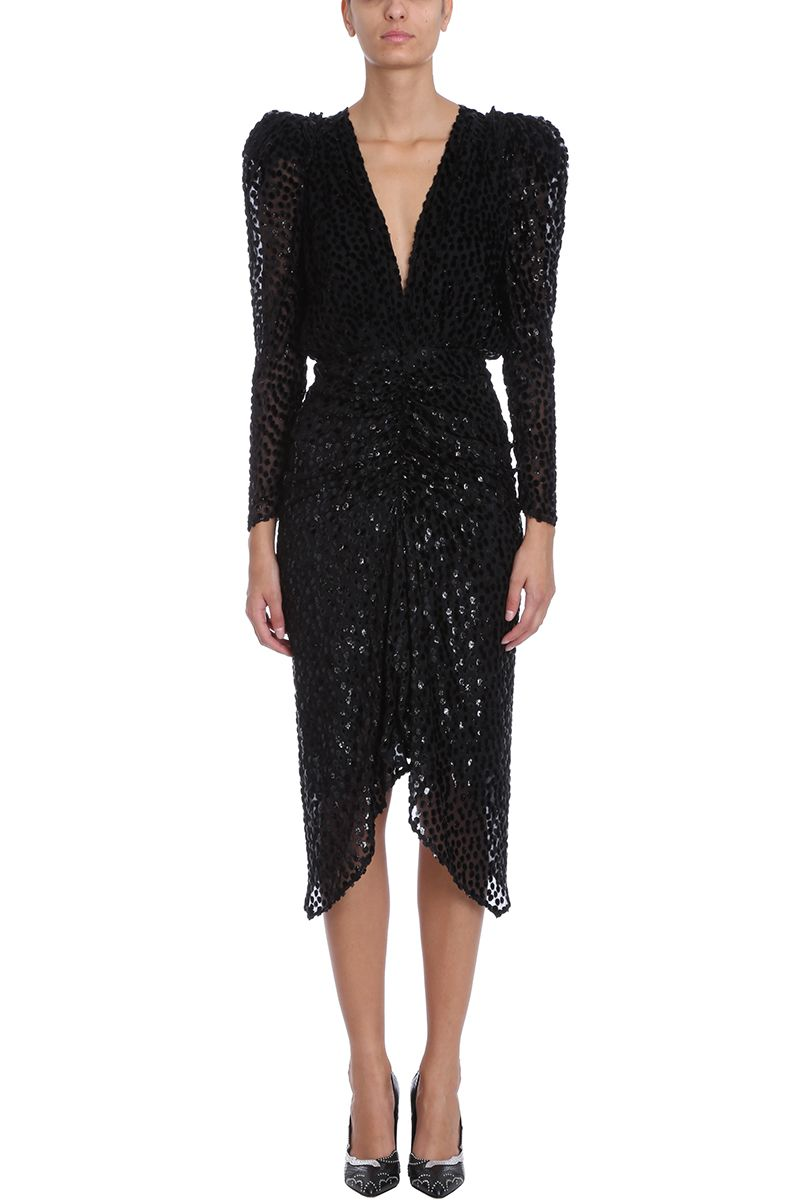 Isabel Marant Maray Black Silk And Velvet Cocktail Dress 10721350
