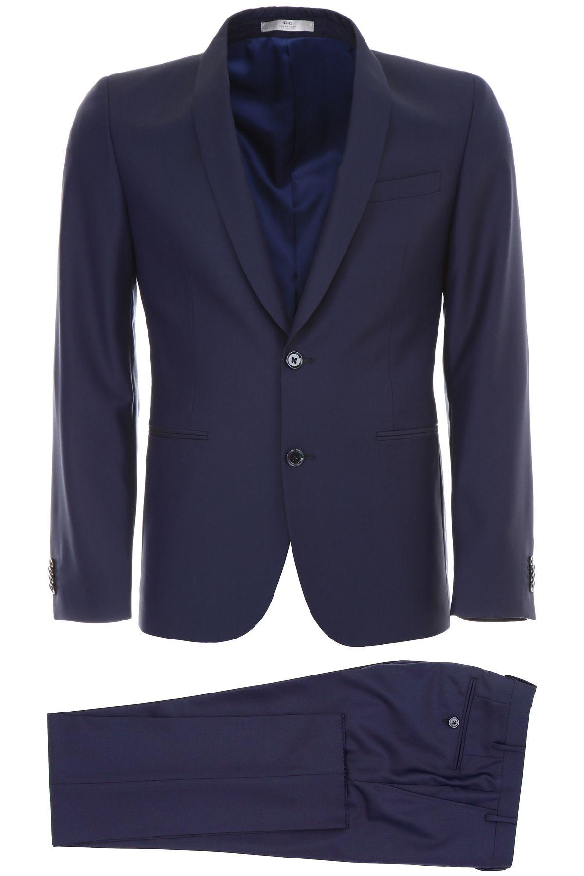 CC COLLECTION CORNELIANI Virgin Wool Suit in Blu Navy
