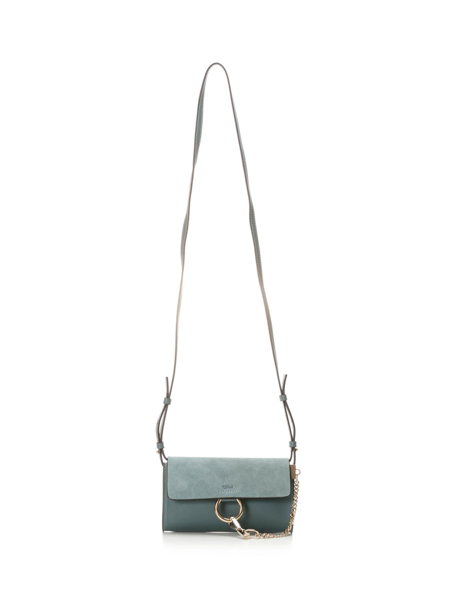 CHLOÉ CHLOE FAYE LIGHT BLUE WALLET ON STRAP