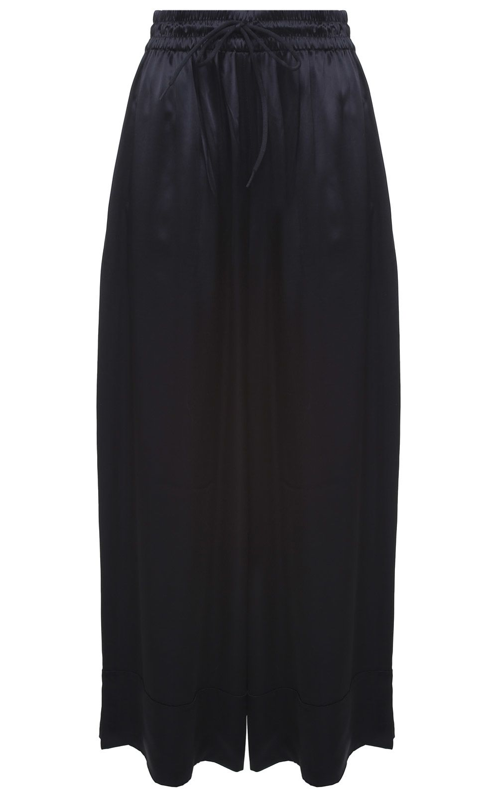 Lux Wide Side-Stripe Satin Track Trousers, Nero