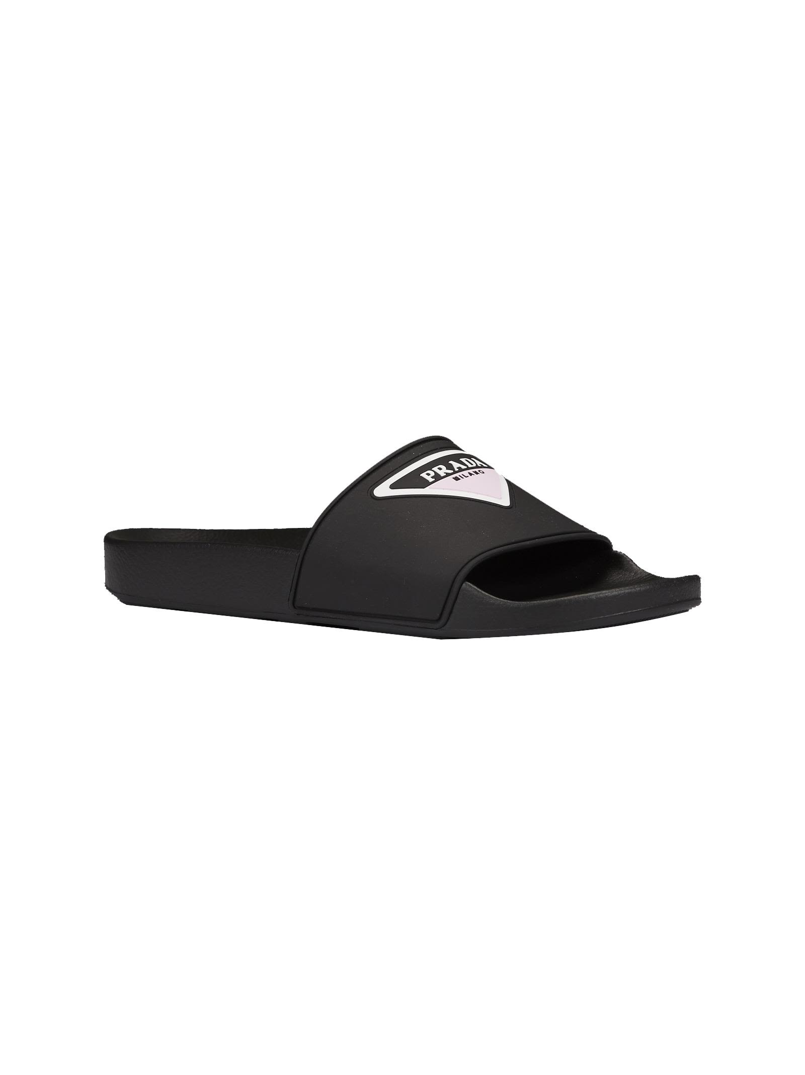 Prada Logo Print Sliders Stockist Online Inexpensive Cheap Price Free Shipping Collections Clearance Get Authentic ON5gLSD