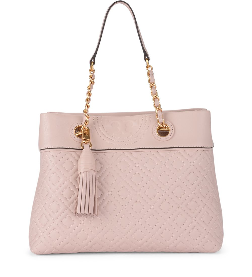 b65934051c40 TORY BURCH FLEMING SMALL PINK QUILTED LEATHER TOTE