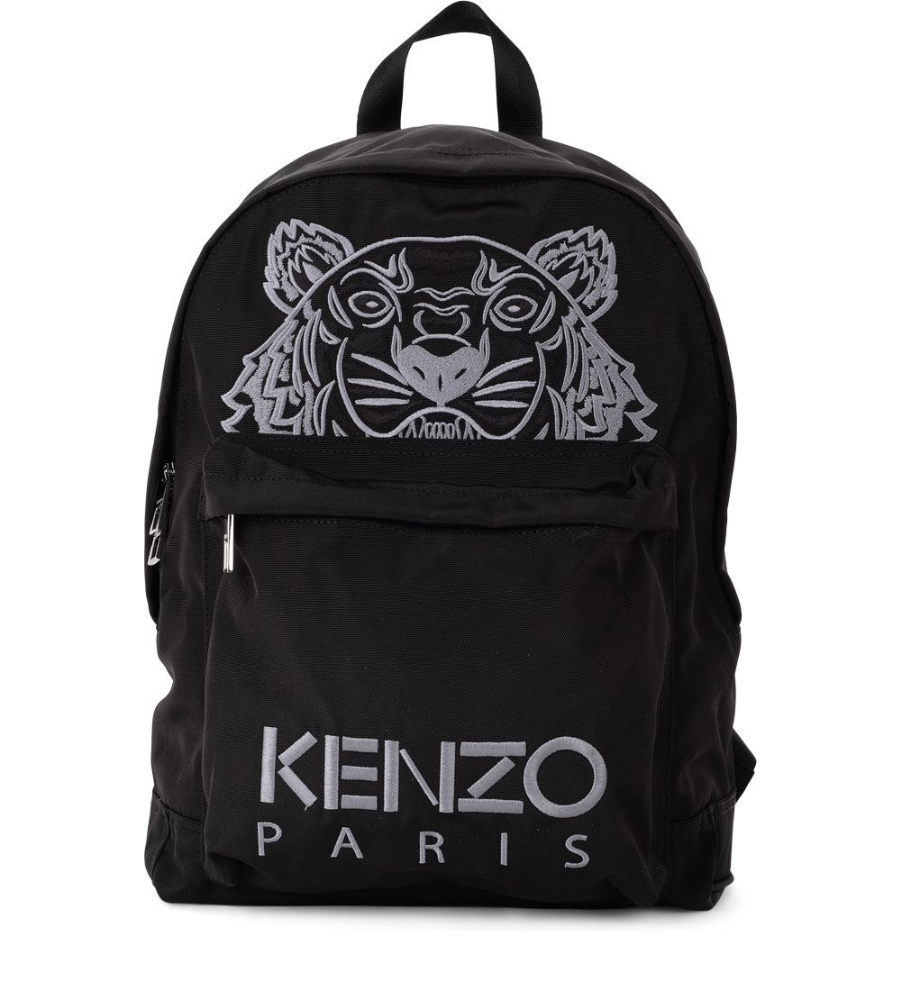 BLACK FABRIC BACKPACK WITH TIGER