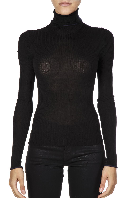 acne studios -  Turtle Neck Black Merino Wool Jumper